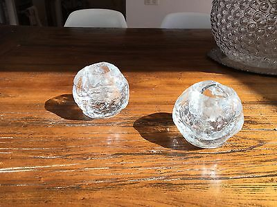 Kosta Boda Snowball Candle Holders X 2