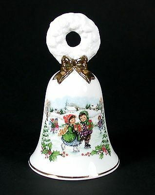 AVON 1986 Christmas Bell in ORIGINAL BOX Children Skating Carrying Gifts VGC!