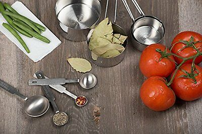 ChefLand 8-Piece Deluxe Stainless Steel Measuring Cups and Measuring Spoon Set,