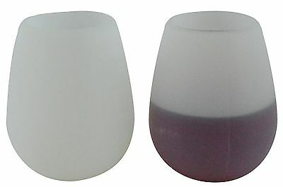 Southern Homewares Unbreakable Silicone Party Cup Wine Glasses (Set of 2), White