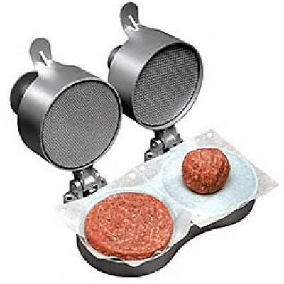 Burger Press Maker Double Seasoned Beef Patty Sausages Nonstick Kitchen Silver