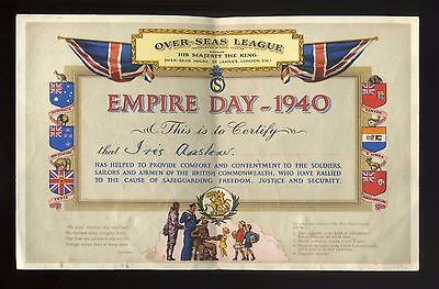 EMPIRE DAY 1940 named certficate in very good condition