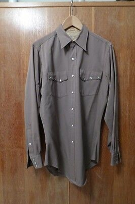 western shirt vintage brown cream buttons pearl snaps cowboy rockabilly
