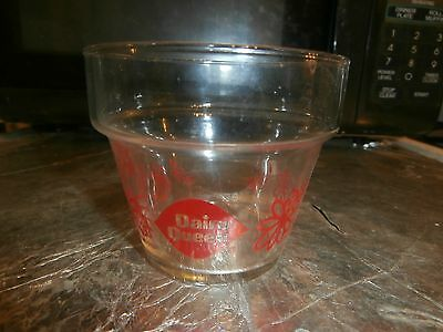 glass dairy queen flower pot 1981 red flowers a sunday came in this
