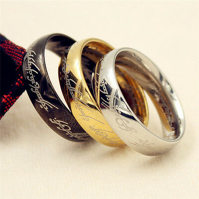Lord of the Ring Titanium Steel Jewelry Silver/Gold/Black Wedding Band Size 6-12
