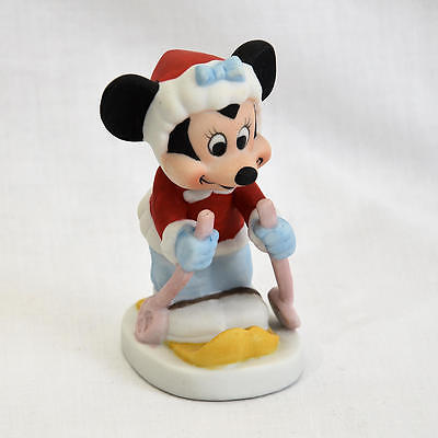 Disney Minnie Mouse On Skis Skiing Ceramic Figurine Excellent