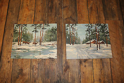 """2 Piece Lot 1960s Vintage """"Paint by Number"""" Paintings  """" DEER at WINTER CABIN """""""