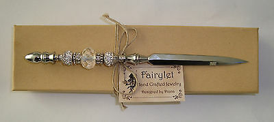 """Letter Opener Chrome Plated Silver Jeweled Crystal/Rhinestones 7"""" NEW!"""