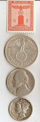 -*ww2 US -1945 *Mercury  Dime + *WWII *german SILVER  EAGLE coin/STAMP  ++..
