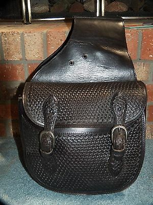 Unbranded Leather Handtool Black Double Buckle Horse Saddlebag Pre-Owned