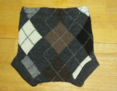 Upcycled Wool Diaper Cover Shorties NWOT handmade argyle sweater Gray 9 m