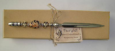 """Letter Opener Chrome Plated Silver 7"""" Frog Lampwork NEW!"""