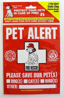 Fire Rescue - Pet Alert Static Cling Window Decals - Dogs Cats Birds Pets Safety