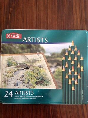 Derwent Artists Pencils Tin Of 24 Assorted Colours