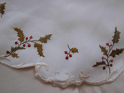 Antique Lg.18' Scalloped Linen With Society Silk Holly Berries H Made Embroidery