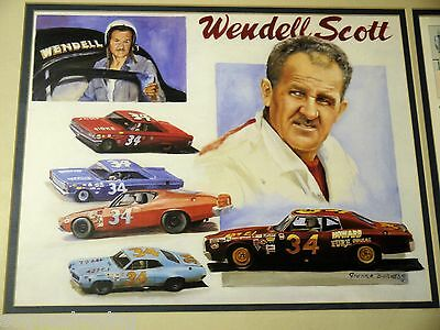 RARE Wendell Scott Signed Autographed Poster in Metal Frame 18x12