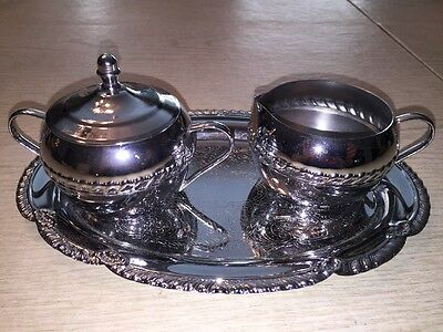 Vintage  IRVINWARE Chrome Creamer and lidded sugar with tray Made in USA