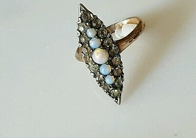 Antique Victorian Diamond Paste Opal Navette Gold Ring Size 7.5 Marquise