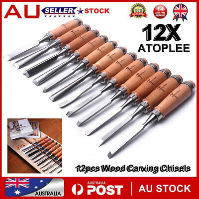 12PCS Wood Carving Hand Chisel carver/woodworking/lathe Tool Set Kit