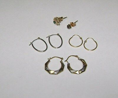 Yellow and White 14k / 10k Gold Mixed Earring Lot for Use or Scrap