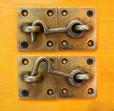 SET of 2 pcs Vintage Antique Hook Safe LATCH KEY SOLID BRASS Unused