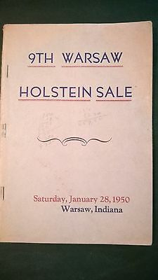 9th WARSAW INDIANA HOLSTEIN DAIRY CATTLE SALE CATALOG 1950 INDIANA