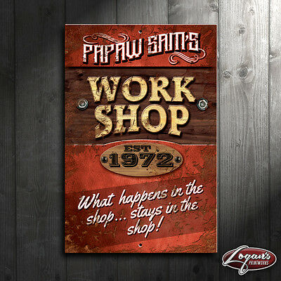 "Customized Work Shop Metal Sign, 12""x18"" Personalized Garage Decor"