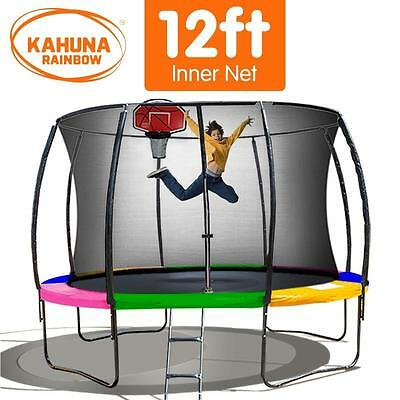 12FT Round Trampoline Safety Net Set Spring Rainbow Pad Cover Basketball Ladder