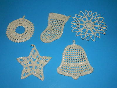 Vintage Lot 5 White Starched Crocheted w sequins Christmas Ornaments delicate