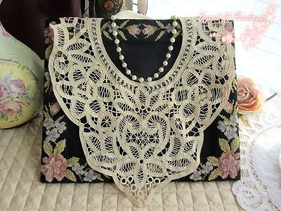 Vintage Handmade Battenburg Lace Top Collar/Applique~Beige/Ecru~Dewdrop~Elegant~