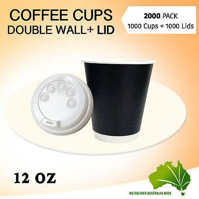 Disposable Coffee Cups 1000 Pc+Lids 1000 Pc 12 oz Double Wall Coffee Cups Bulk