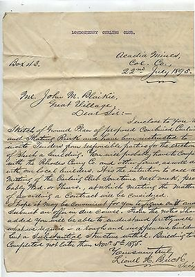 Old 1895 Letter Londonderry Nova Scotia Curling Club Building Proposal
