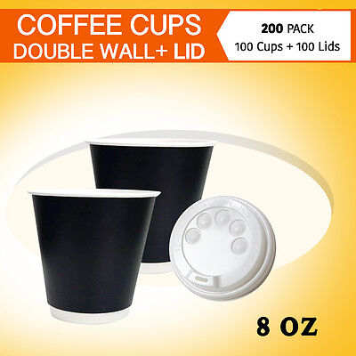 Disposable Coffee Cups 100 Pc+ Lids 100 Pc 8 oz Double Wall Coffee Cups Bulk Buy