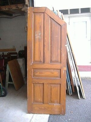 Five Panel Door Beige Painted Vintage Antique Architectural 48A