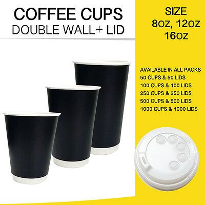 Disposable Coffee Cups Double Wall Black 50,100,250,500 & 1000 Cups + Lids Bulk