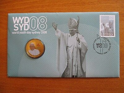 P.N.C.  2008  WORLD  YOUTH  DAY  50c  STAMP PLUS $1  COIN.
