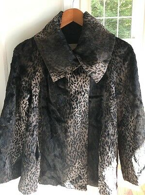 Cadeau Maternity Leopard Cheetah Faux Fur Jacket Coat Made in Italy Adorable!