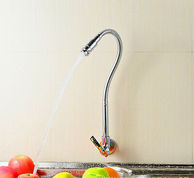 Flexible Pull Down Spray Chrome Kitchen Sink Faucet Single-Tube Cold water Tap