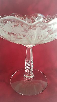 Cambridge compote etched wildflower perfect condition