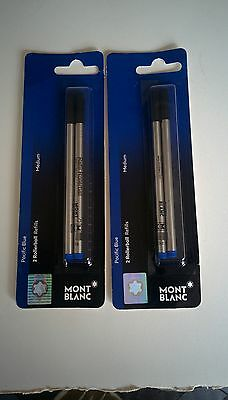 Lot Of 4  Montblanc Rollerball Ink Refills Medium Pacific Blue (107878)