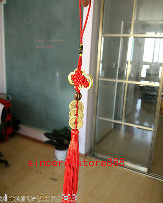 Feng Shui Lucky Three Emperors Coins Pendant Decoration Red Tassel For Fortune