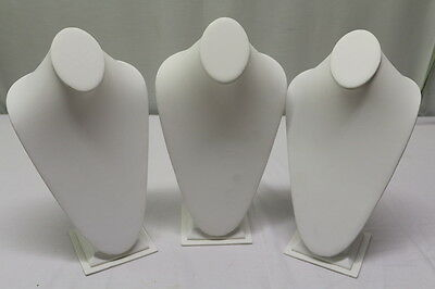 "Lot Of 3 White Leatherette Necklace/jewlery Display Bust/stand 15"" Tall"