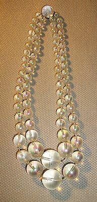 Vintage Iridescent Bead Double Strand Necklace Sterling Jelly Belly