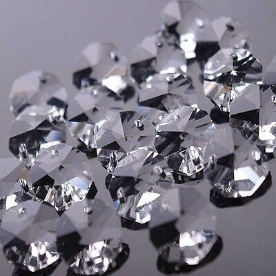 1000 PCS 14MM Chandelier Glass Crystal Octagon Beads Prism Ornament Parts 2 Hole