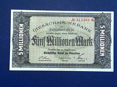 Germany - 5 Million Mark  Banknote 1923- Dresden-Inflation - Extremely Fine