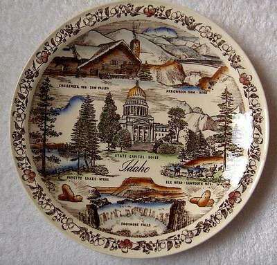 Vernon Kilns Idaho collector state plate~Hand painted~multicolor~Ultra shape-NR