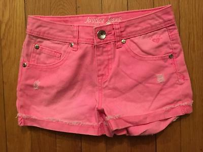 Justice Jean Shorts Girls Size 10 Hot Pink Shorts