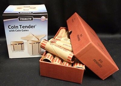 Coin Tender Change Sorter Counter MMF + 20 PENNY CENT Bank Wrappers Storage Box