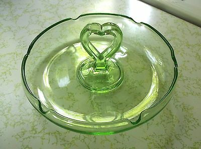 Vintage Green Imperial Glass Dish with Heart Handle