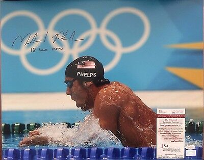 """Michael Phelps Signed 16x20 Photo w/""""18 Gold Medals"""" Inscription JSA Witnessed"""